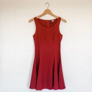 H&M DIVIDED Fit and Flare Mini Dress in Burgundy
